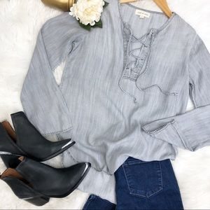 Anthro Cloth & Stone Gray Chambray Tunic Top Sz S